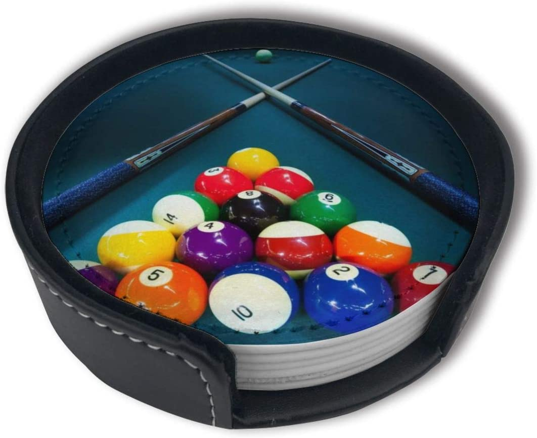 FUNCOOLCY Billiards Coasters for Drinks with Holder, Leather Coasters Set of 6, Round Cups Mugs Mat Pad for Home Kitchen