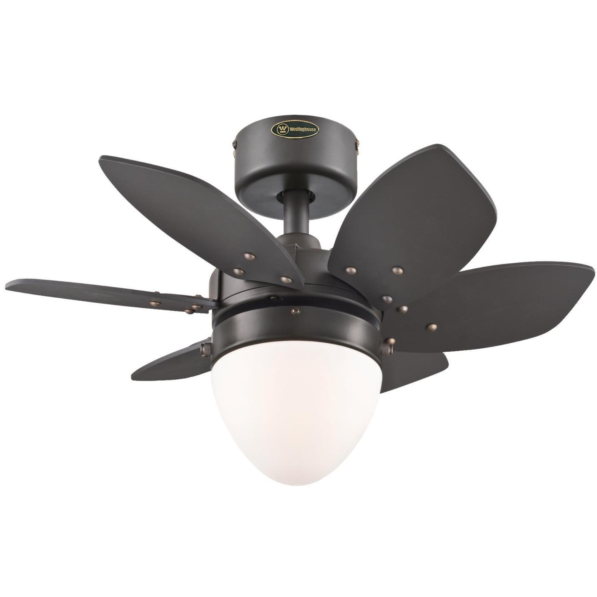 Westinghouse  7222900 Origami Single-Light 24-Inch Reversible Six-Blade Indoor Ceiling Fan, Espresso with Opal Frosted Glass