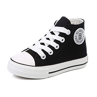 d2a2d895696b E-FAK Kids Boys Girls Canvas High Top Gym Shoes Trainers Sneakers (Toddler