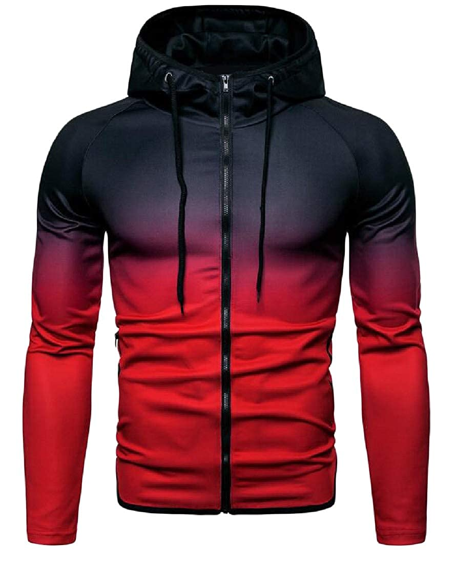 Cromoncent Mens Coat Hooded Ombre Color Jacket Workout Sport Sweatshirts