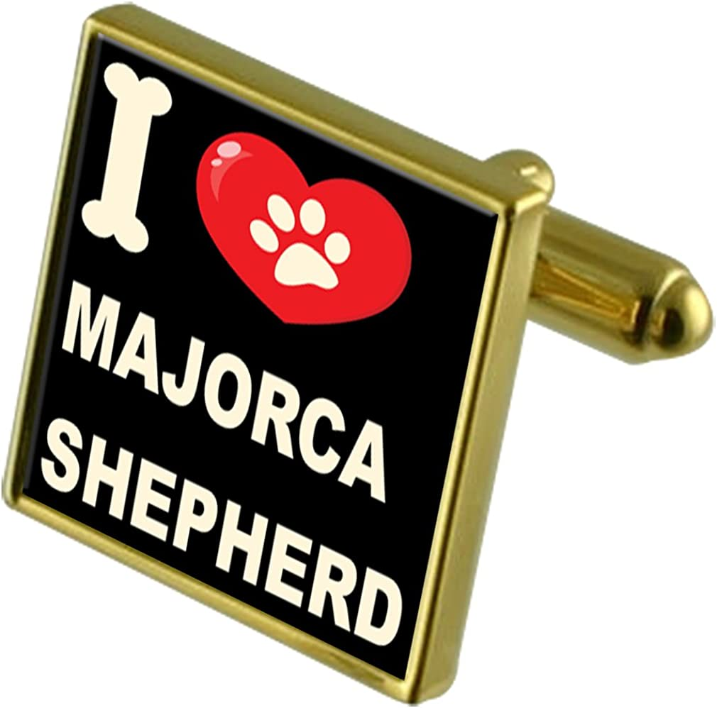 Select Gifts I Love My Dog Gold-Tone Cufflinks /& Money Clip Majorca Shepherd