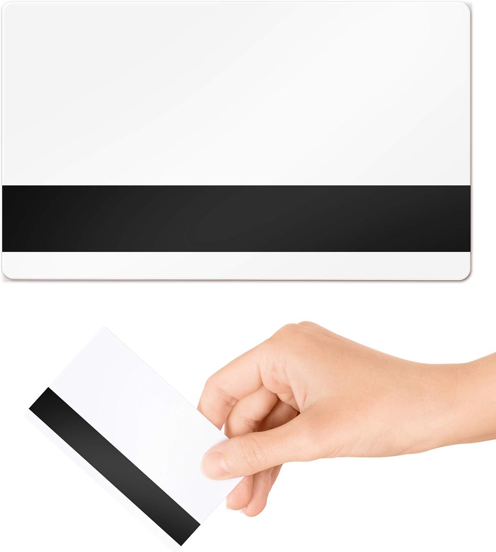 760 micron magnetiche confezione da 100 Carte d/'identit/à bianche in plastica PVC Hi-Co CR80