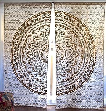 Gold Or Silver Mandala Tapestry Curtains, Boho Curtains, Tapestry Drapes,  Mandala Window Treatment