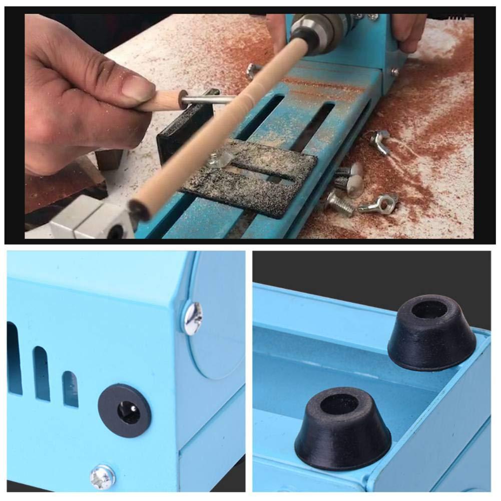 Mini Wood Lathe Tools Woodturning Lathe Machine Blue 150W DIY Mini Woodworking Lathe Milling Machines Grinding Polishing Buddha Beads Drill Rotary Tool Set Wood Lathe Kit