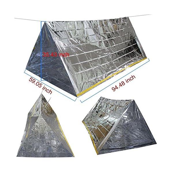 3 en 1 Emergencia Supervivencia Manta para Tienda de campaña Saco de Dormir, Wady Portatil Carpa Refugio De Campamento… 1