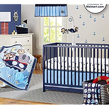 Image of Abreeze 7-Piece Nursery Baby Bedding Set Nautical Crib Bedding Set for Boys Baby Cot Ocean Themed Bedding Set Baby
