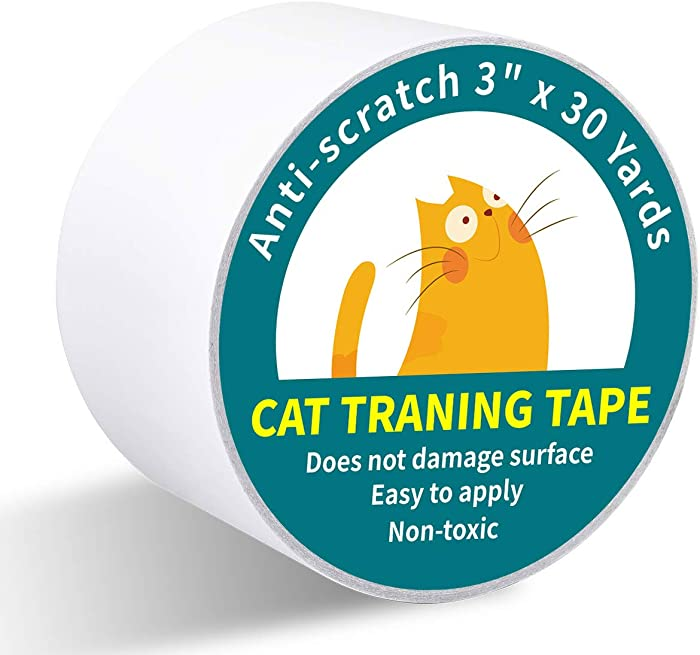 Karaseno Anti CatScratchTape, 3 inches x 30 Yards Cat Training Tape, 100% Transparent Clear Double Sided Cat Scratch Deterrent Tape, Furniture Protector for Couch, Carpet, Doors, Pet & Kid Safe