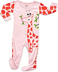 0e4477a89e DinoDee Baby Girls Footed Pajamas Sleeper 100% Cotton Kids Pjs (6 Months-5