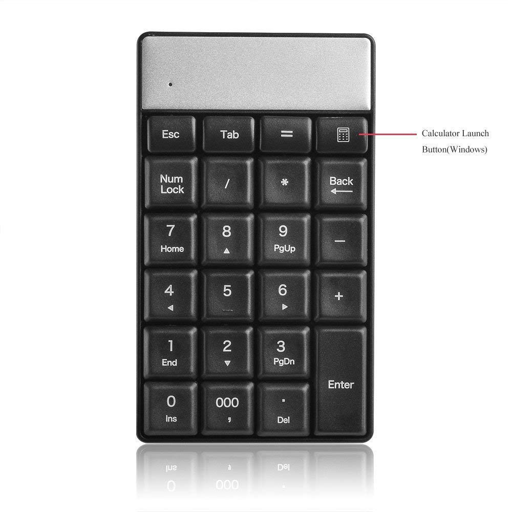 7 Wireless Number Pad 23-Key for Data Entry for iMac MacBook Laptop Desktop PC Computer WADEO Portable Mini USB 2.4GHz Numeric Keypad 10 2000 Vista Compatible with Windows XP 8