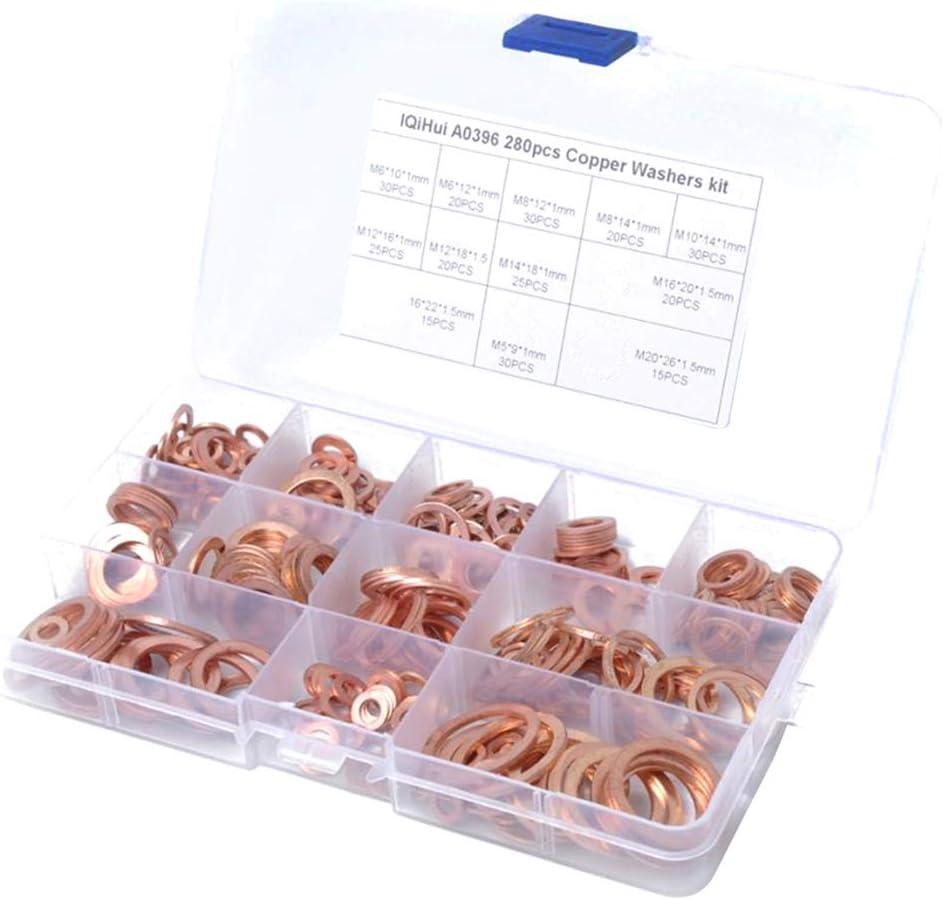 Kupfer Unterlegscheiben Dichtung Hardware Zubeh/ör solide Kupfer 280 St/ücke 12 Gr/ö/ßen Kupferringe Sortiment Dichtringe Kupferring