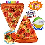 """Matty's Toy Stop Inflatable Pizza Slice Pool Mat with Realistic Printing (69""""x57"""") Gift Set Bundle with Bonus 16"""" Beach Ball - 2 Pack"""
