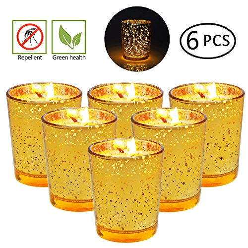 XYUT Citronella Candles Set (6-Pack) Natural Insect Repellent | Deters Bugs, Flying Insects, Mosquitos | Child and Pet Safe, Cruelty Free | Patio, Backyard, Outdoor Use