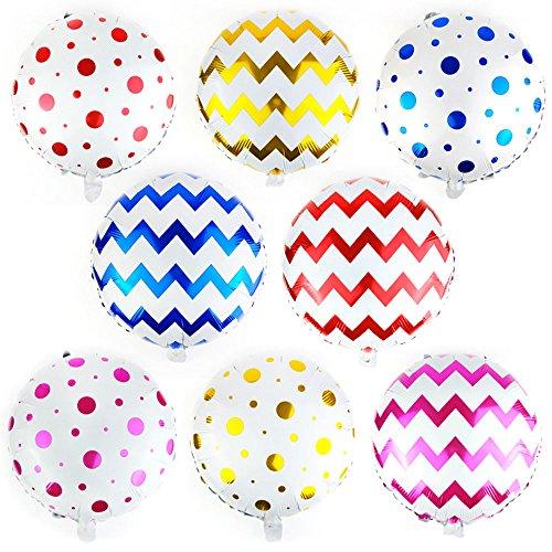(AnnoDeel 8 pcs Polka Dot Mylar Balloons, 18inch Round Stripe Polka Dot Foil Balloons for Wedding Birthday Shower Party Decorations Supply)