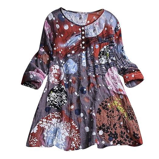 504e8908e34ac MOSERIAN Womens Shirt Casual Plus Size Loose Linen Sleeve Print ...