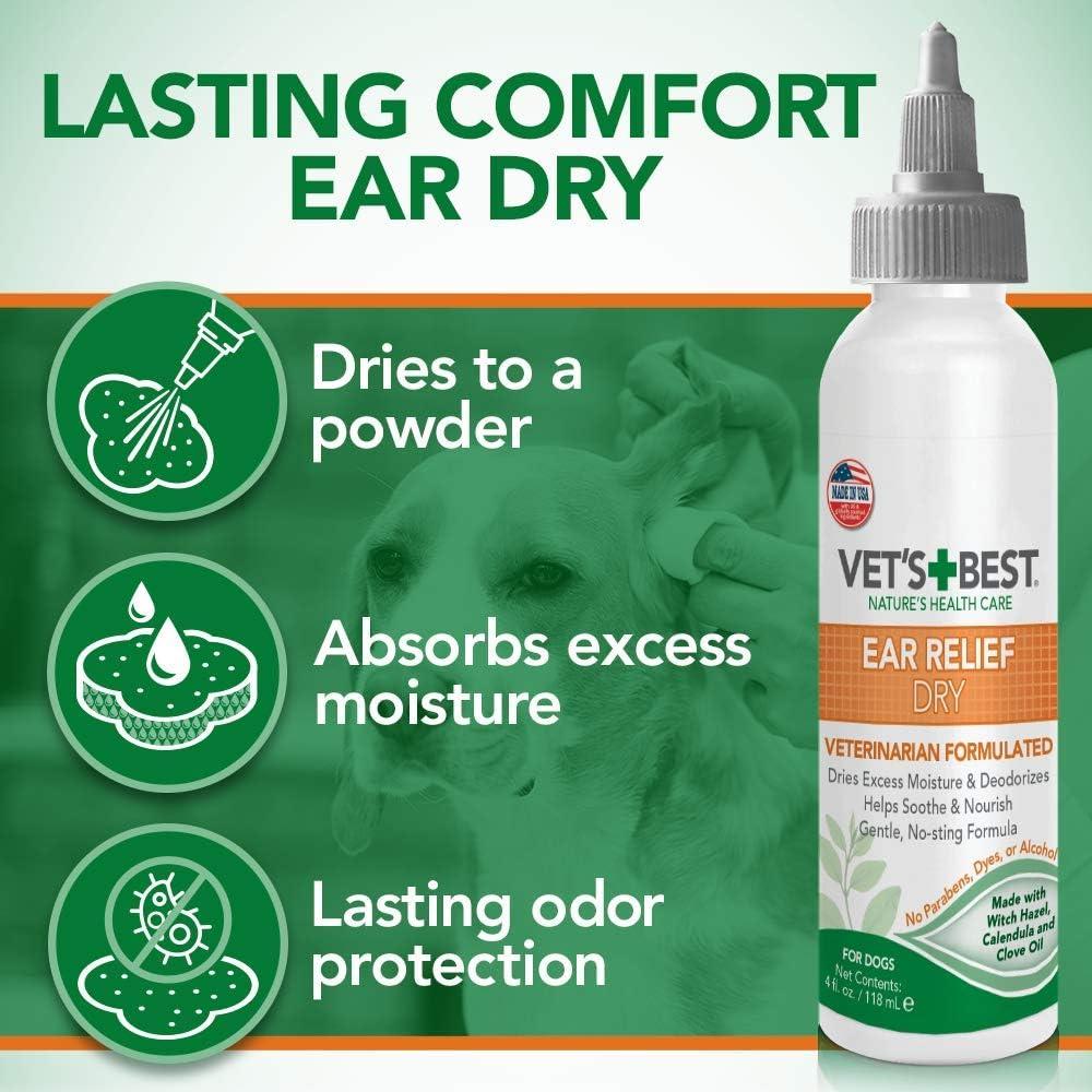Vet's Best Dog Ear Cleaner Kit | Multi-Symptom Ear Relief | Wash & Dry Treatment | Alcohol-free : Pet Ear Care Supplies : Pet Supplies