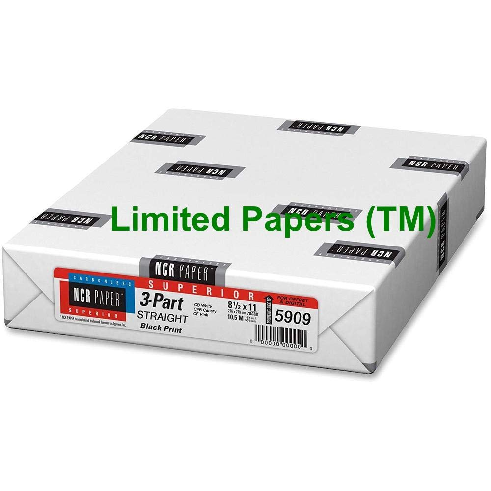 Limited Papers (TM) NCR Carbonless Paper, 3-Part Straight Collated, 8-1/2'' x 11'' (5)