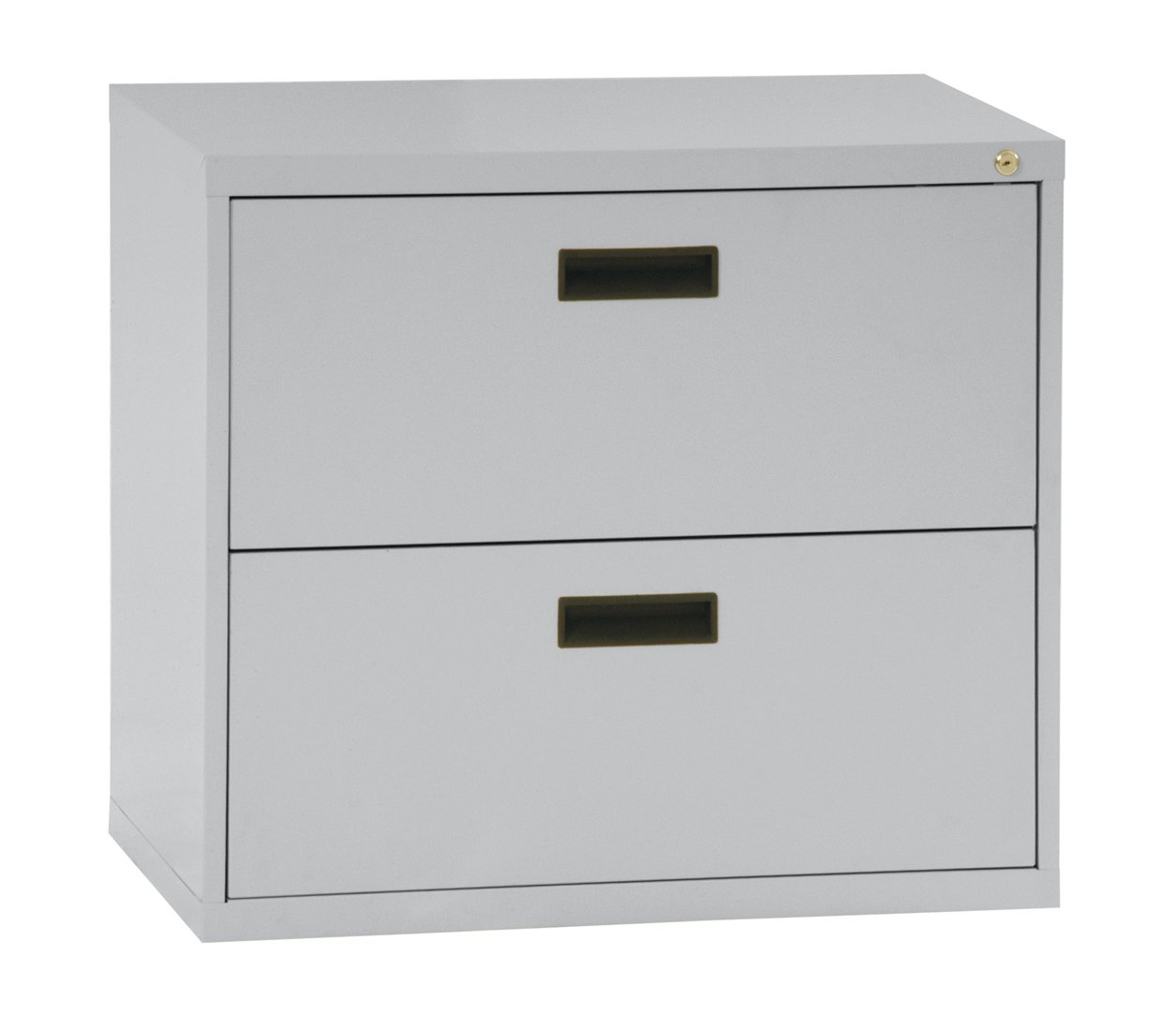 Sandusky 400 Series Dove Gray Steel Lateral File Cabinet with Plastic Handle, 30'' Width x 27-1/4'' Height x 18'' Depth, 2 Drawers