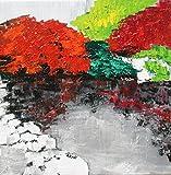 Painting, Original art ''Japanese Garden, Norfolk Botanical Gardens'' (2018-18), Landscape, 16 x 16 inches