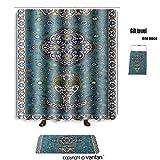 vanfan bath sets Polyester rugs shower curtain predominantly blue glazed islamic tile mosaic shower curtains sets bathroom 60 x 72 inches&23.6 x 15.7 inches(Free 1 towel 12 hooks)