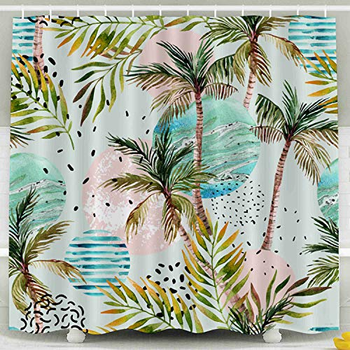 Fabric Shower Curtain,Kids Shower Accessories,Musesh 78x72 Inch Shower Curtain Home Decoration Set with Hooks Abstract Summer Geometric Pattern Watercolor Palm Tree Leaf Marble Grunge Doodle Textured