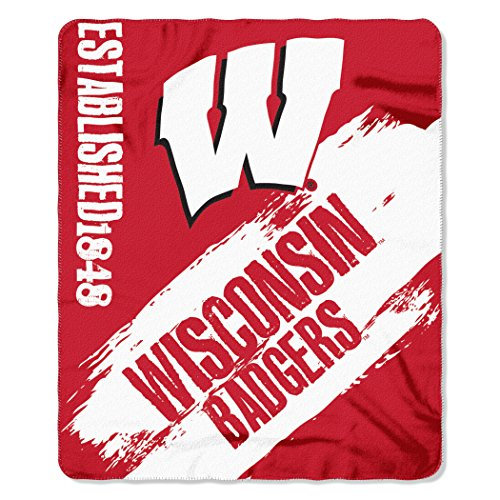 The Northwest Company NCAA Wisconsin Badgers Painted Printed Fleece Throw Blanket, 50