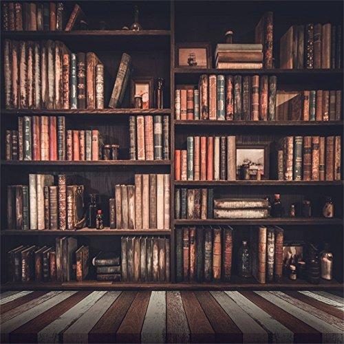 Leowefowa 5X5FT Bookshelf Backdrop Bookcase Study Room Library Books Gloomy Grunge Vintage Stripes Wood Floor Interior Vinyl Photography Background Kids Children Students Adults Photo Studio -