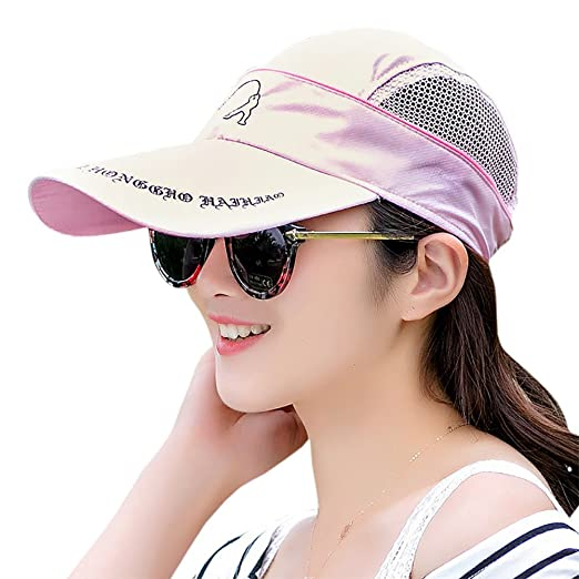 6b797e23d931b Amazon.com  Women s Sun Visor - Quick-Drying Removable Baseball Cap   Visor  Dual-Use Golf Lightweight Sun Hat  Clothing