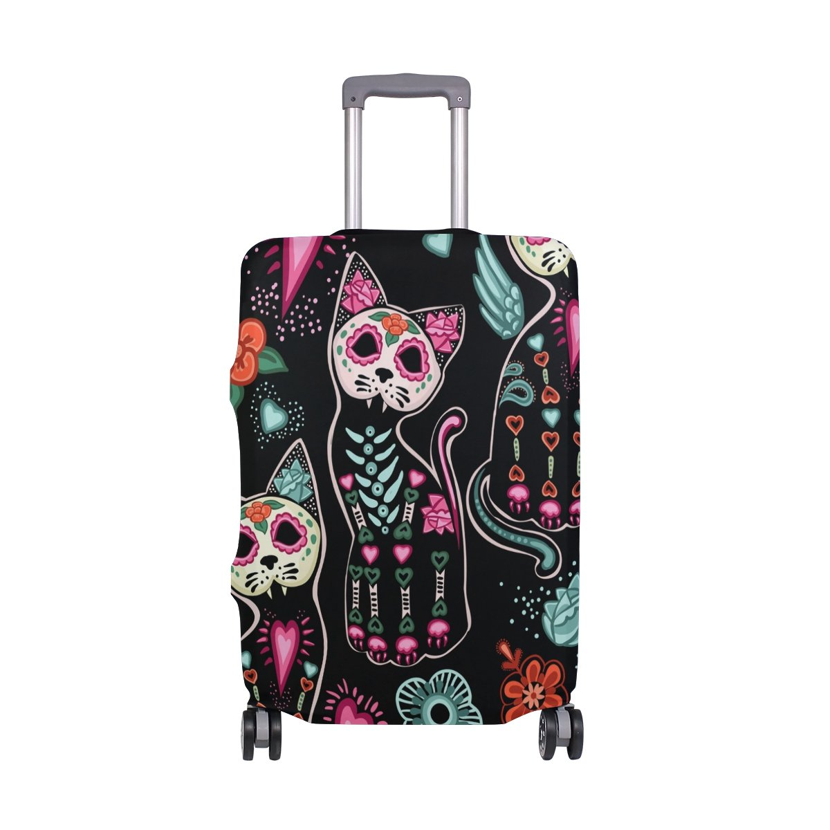 Abstract Hippie Halloween Cat Bohemian Floral Flowers Suitcase Luggage Cover Protector for Travel Kids Men Women