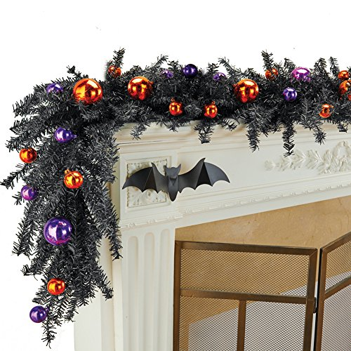 Collections Etc Halloween Garland with Festive Purple and Orange Ornaments on Black Branches, Indoor or Outdoor Home Decoration by Collections Etc