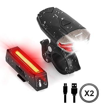 Juegos de luces para bicicleta, faros delanteros y traseros USB ...