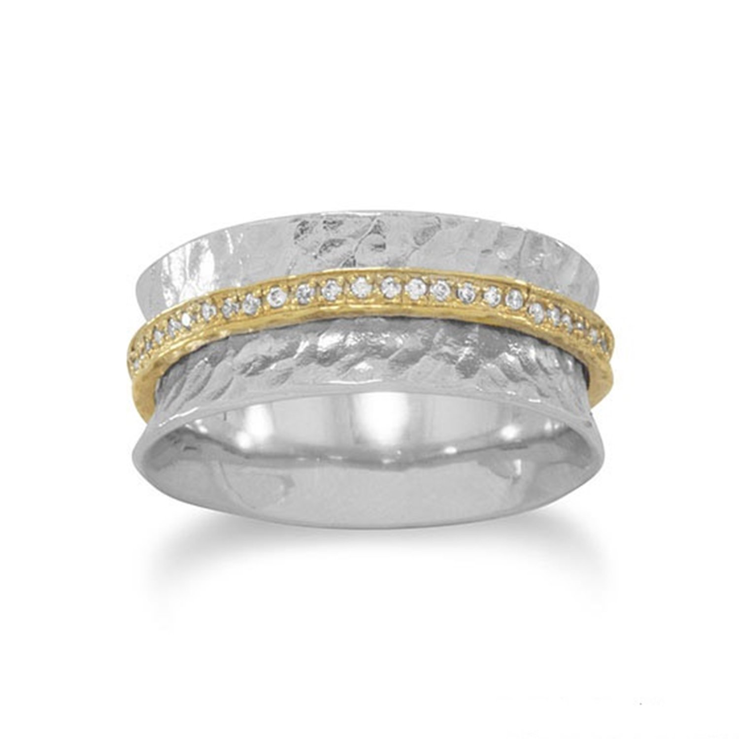Two-tone Hammered Band Ring with Center Gold-plated Cubic Zirconia, 5
