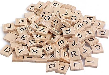 100 Unvarnished Wooden puzzle Tiles Letter Alphabet Crafts Scrapbooking