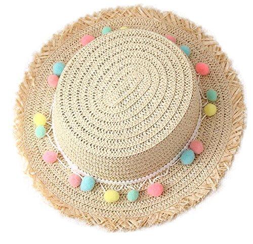 (Freedi Baby Sun Straw Hat Toddler Boys Girls Large Wide Brim Travel Beach Beanie Cowboy Cap Cute )