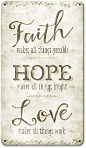 Maizeco Metal Tin Signs Faith Hope Love Home Decor Plaque Poster for Room Beer Garage Patio Indoor Decorative Wall Sign 8 x 12 Inch