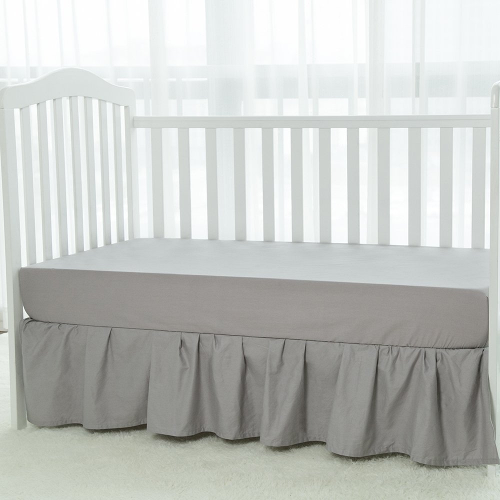 TILLYOU Crib Skirt Dust Ruffle, 100% Natural Cotton, Nursery Crib Bedding  Skirt For