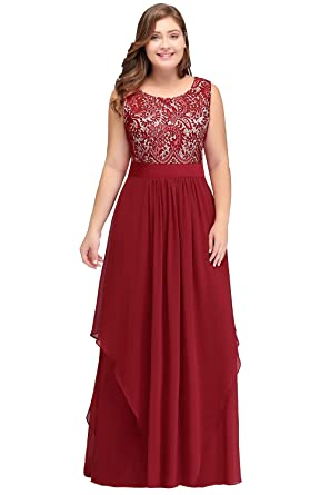 Babyonline Women Plus Size Lace Chiffon Bridesmaid Dress ...