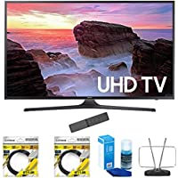 Samsung 40 4K Ultra HD Smart LED TV 2017 Model (UN40MU6300) with 2x 6ft High Speed HDMI Cable Black, Universal Screen Cleaner for LED TVs & Durable HDTV and FM Antenna