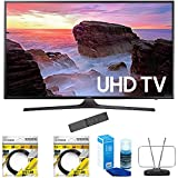 Samsung 40' 4K Ultra HD Smart LED TV 2017 Model (UN40MU6300) with 2 x 6ft High Speed HDMI Cable Black, Universal Screen Cleaner for LED TVs & Durable HDTV and FM Antenna
