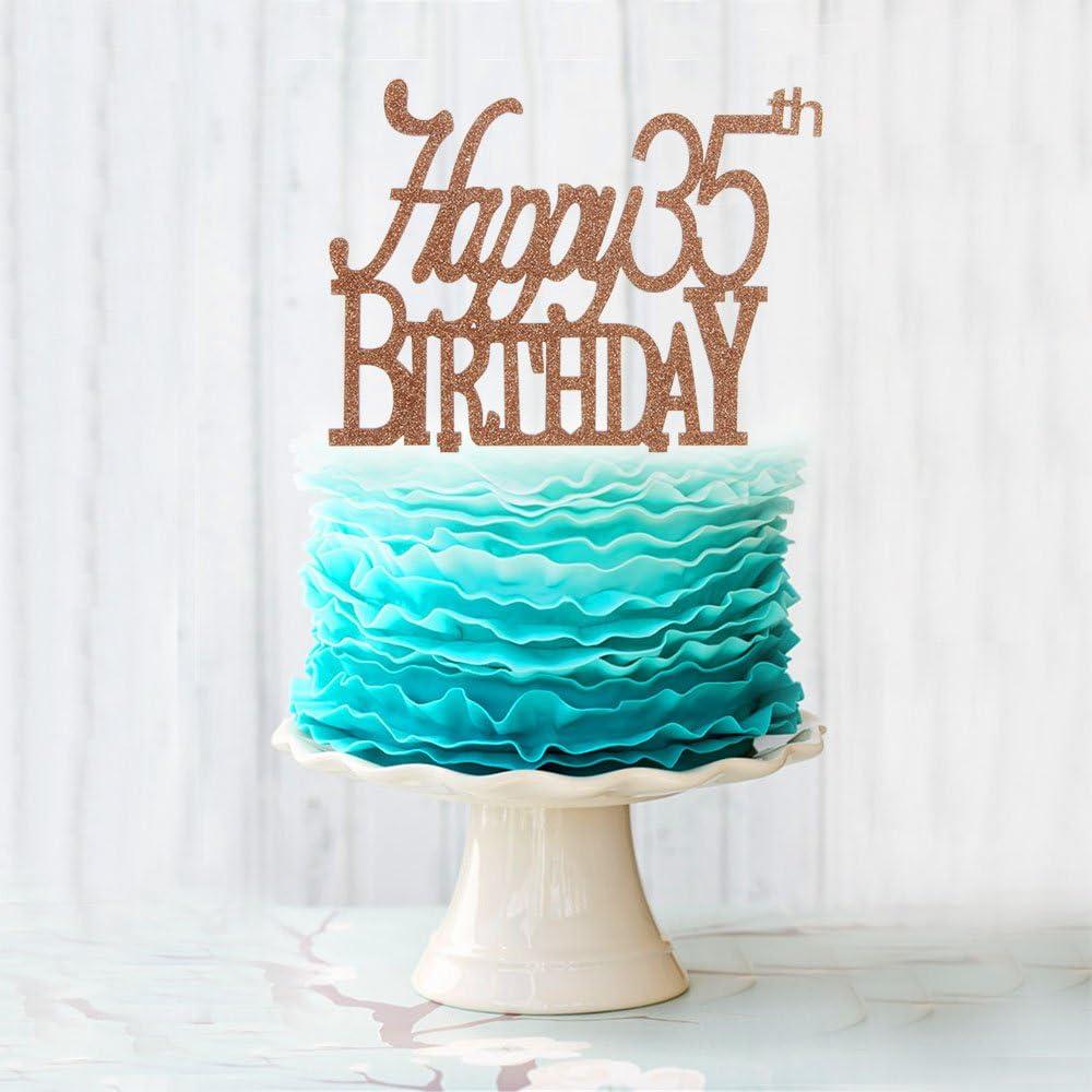 Strange Amazon Com Happy 35Th Birthday Cake Topper Brown Acrylic Cake Personalised Birthday Cards Sponlily Jamesorg