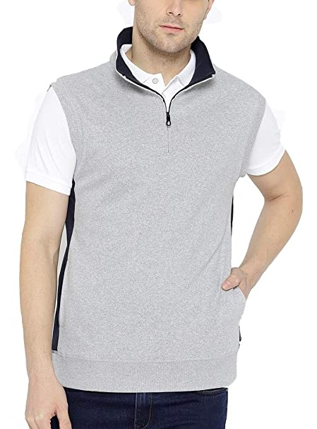 9b69a5c22f1 Dream of Glory Inc. Men s Cotton Sleeveless Quarter-Zip High Neck  Sweatshirts for Men Also in Plus Sizes  XS - 9XL  Amazon.in  Clothing    Accessories