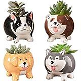BUYMAX Animal Succulent Plant Pots, Mini Doggy Shape Succulent Planter Handmade Ceramic Plant Pot - Cute Dog Planter for…