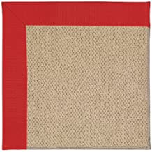 "4' x 4' Square Made-to-Order Oscar Isberian Rugs Area Rug Red Color Machine Made USA ""Zoe Collection"" Cane Wicker Design"