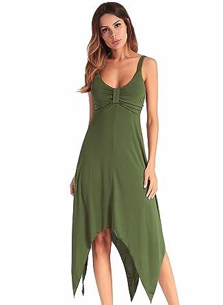 Women Summer Sleeveless V Neck Elastic Irregular Hem Backless Dress