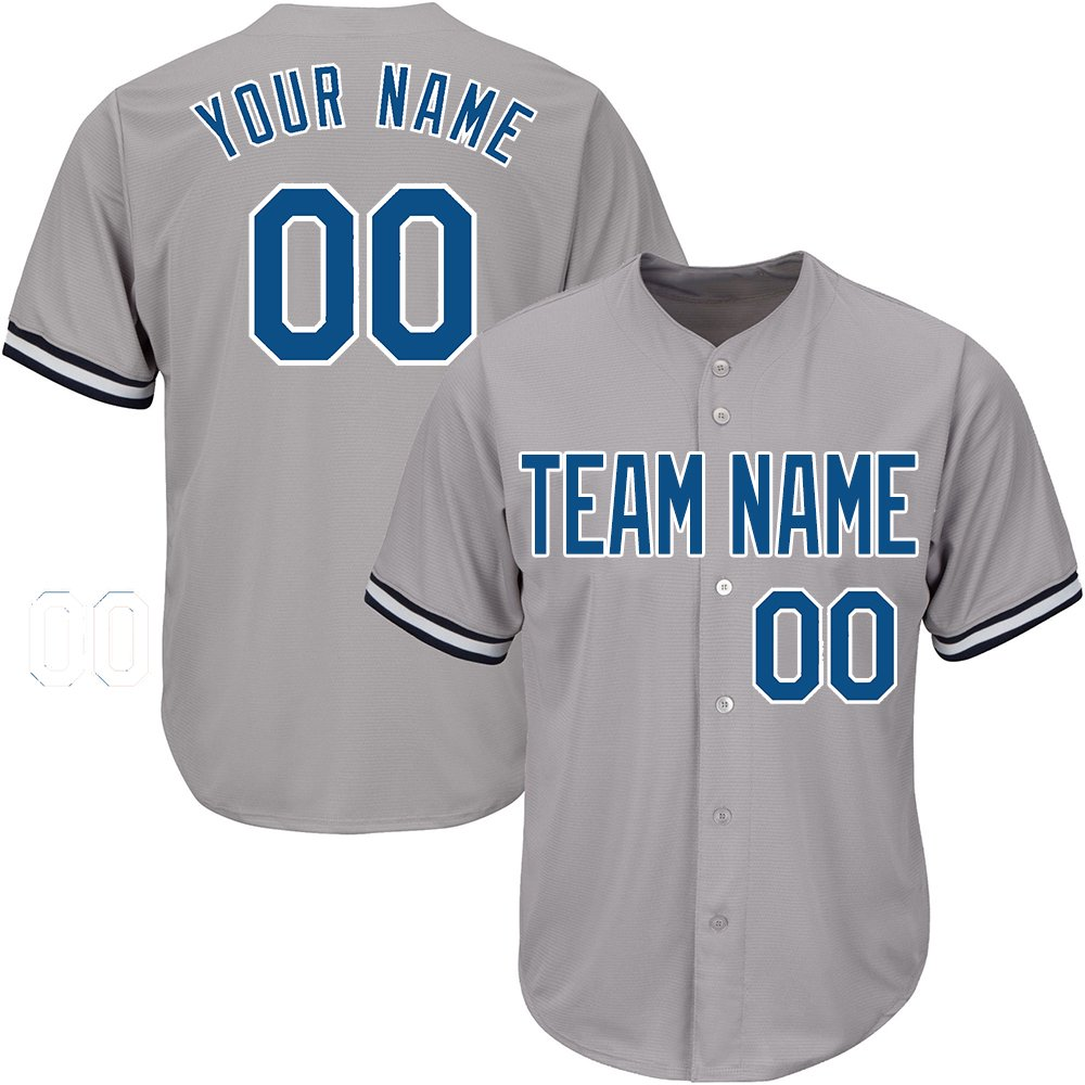 Custom Women's Gray Baseball Jerseys Button Down with Embroidered Team Name Player Name and Numbers,Blue-White Size M by DEHUI