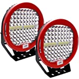Safego LED Pods Light Bar 9inch Red Round 2Pcs 408W 40800Lm Waterproof Spot Beam Led Work Light Off Road Lights Driving…