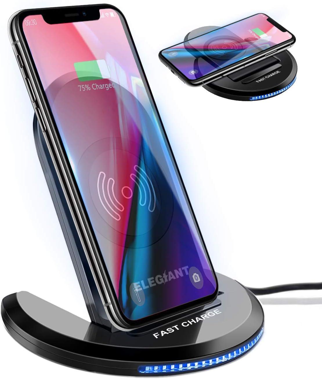 Cargador Inalámbrico, ELEGIANT Cargador Rápido Qi 10W para IOS Android Samsung Galaxy Note 20/Note 10/Note 9, S20/S10/S9, Estación Manos Libres de Ángulo Ajustable con Indicador LED Inteligente