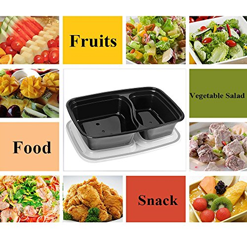 50 SZUAH Meal Prep Containers - Bento Lunch Boxes with Lids - 2 Compartment Food Containers, BPA Free, Stackable & Reusable, Dishwasher/Microwave/Freezer Safe - 34 oz … … by SZUAH (Image #4)