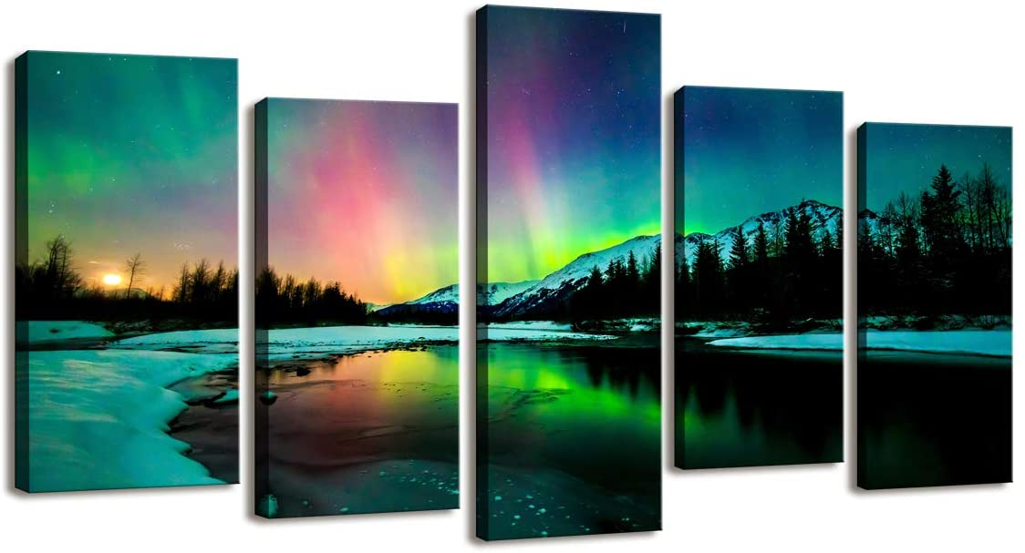 S01927 5 Pieces Wall Art Aurora Scenery Painting on Canvas Stretched and Framed Canvas Paintings Ready to Hang for Home Decorations Wall Decor
