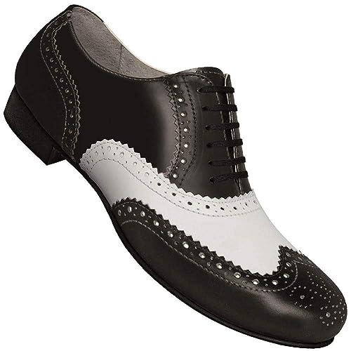 7a196df23b32 Aris Allen Men s Wide (EEE Width) 1930S Black and White Spectator Wingtip Dance  Shoe