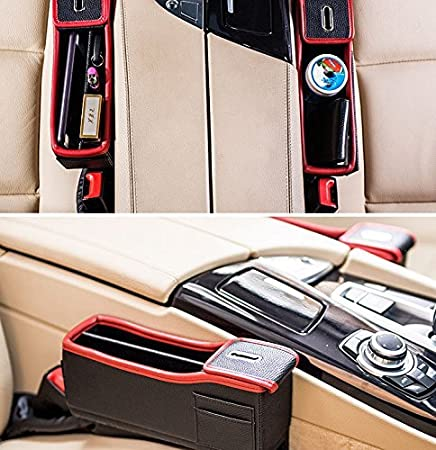 Amazon.com: Autvivid Car Seat Catcher Gap Filler Organizer Side Slit Pocket Coin Side Pocket Console Side Pocket Car Organizer Storage Box (Black, ...